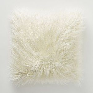 ANTHROPOLOGIE Makura Faux Fur PILLOW Large Ivory